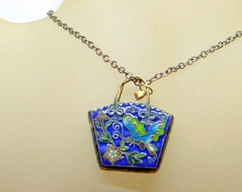 Sterling Enamel Butterfly Necklace -Antique - Blue - Green - Handbag Basket Pendant - Old Chinese Cloisonne - Silver - Lovely Butterfly