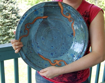 Massive Hand Thrown Platter in Slate Blue and Rust Waves - Made to Order