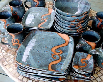 Service for Eight in Slate Blue with Rust Waves Dinnerware Set - Made to Order