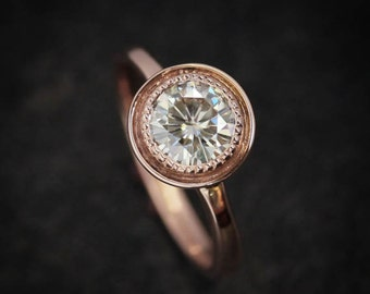 halo engagement ring moissanite ring rose gold engagement ring rose gold onegarnetgirl - Amazing Wedding Rings