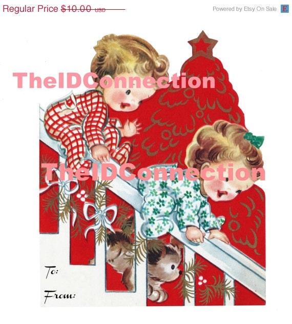 Super Sale 1950's Christmas Morning, Children Sliding Down