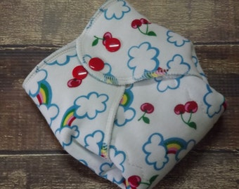 Organic Cotton Winged Prefold Cloth Diaper Cherries and Rainbows