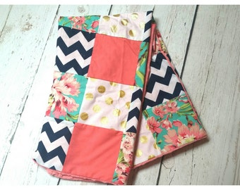 Love Blossom Patchwork Baby Blanket-2 sizes available