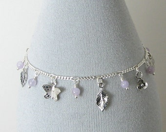 Cape Amethyst and Sterling Silver Butterfly Garden Charm Bracelet