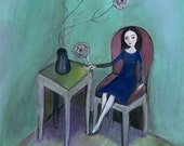 The Purple Chair, Greeting Card, greens, blue green, contemporary, folk art