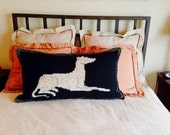"""PILLOW SHAM with Fawn Greyhound Image, King size 36""""x20"""" (Hand crocheted)"""