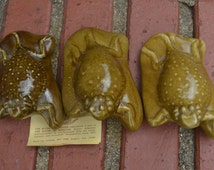 """Set of 3 Ceramic Horned Toads Horny Toads """"Old Rip"""" House Of Webster Eastland,TX Souvenir ON SALE was 35 now 30"""
