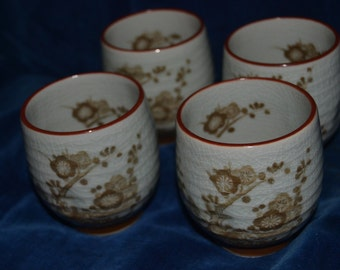 Set of 4 vintage yunomi tradition Japanese tea cups