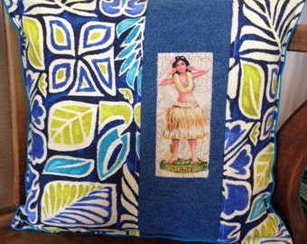 "Hula Girl with Hawaiian Tiki print pillow 12 "" X 12"" blue green denim with ocean blue canvas back"