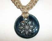 Tibetan Peace and Lotus Symbol Raku Ceramic Pendant on Natural Hemp Necklace with Ceramic Beads - Hemp Jewelry