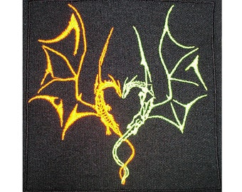Neon Dragon Heart Patch - Dragons in Love - Handmade Embroidery Design By Psysub - Iron on Sew on Patch