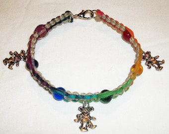 Triple Deady Bear Anklet or Bracelet - Grateful Dead Dancing Bear - Rainbow Hemp Anklet or Bracelet - Hemp Jewelry