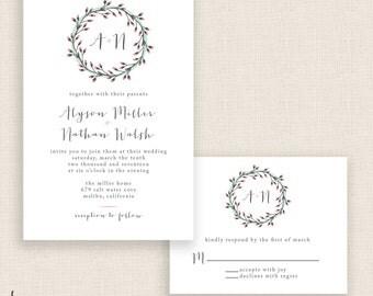 MINT & MODERN - DIY Printable Wedding Set - Invitation and Reply Card