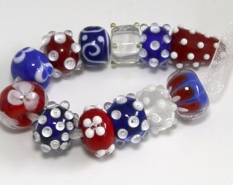 Red White & Blue Beads,  Set of 12 ~handmade glass Bead Lampwork  by Lezlie/cankeep