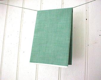 SALE Selvedge chambray bandana bandanna scarf, headband - green spruce sun washed - kerchief - eco vintage fabric