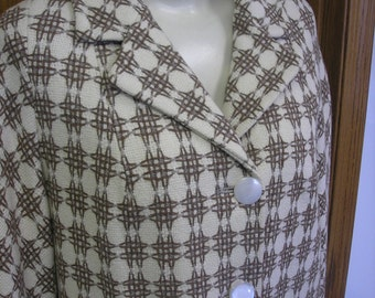 Retro Vintage 1950's Rust and Cream Novelty Plaid Wool Coat 42 Bust Large XL