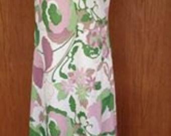 Vintage 70s Lavender and Green Maxi Dress Size Medium