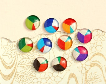 10pcs handmade assorted geometric round glass dome cabochons 12mm (12-9449)