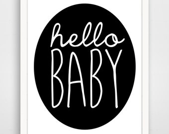 Children's Wall Art / Nursery Decor Hello Baby Black and White print by Finny and Zook