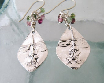 Handcrafted Silver Wildflower and Tourmaline Earrings