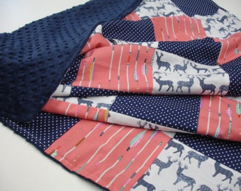 Meadow Deer and Arrows Coral Pink and Navy Minky Comforter Blanket You Choose Size MADE TO ORDER No Batting