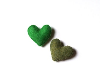 Felt Broodh Felt Heart Brooch Felt Heart Pin Boho Fashion Accessory Handmade Felt Accessory Heart Jewelry Apple Avocado Green Gift for Her