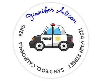 Police Man Car / Sheriff Deputy Cruiser Round / Circle Return Address Labels / Stickers - 1.75 inch circles / 20 per set