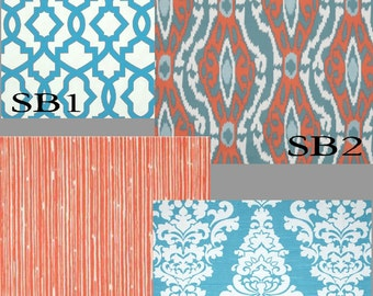 Custom Coral/Blue Drapes You pick the Fabric - Lined