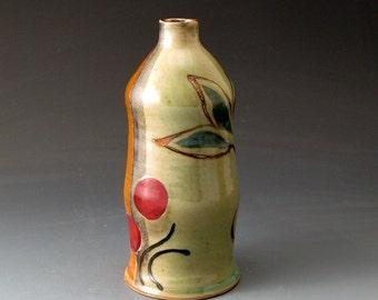 Handmade Ceramic Bud  Vase with Pea and Leaf Motif - Home Decor