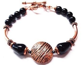 Black Onyx Bracelet - copper anniversary - 7th anniversary gift - Copper Bracelet  - Copper Jewelry - 22nd