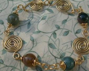 Green Agate Stone Handmade Wirework Bracelet