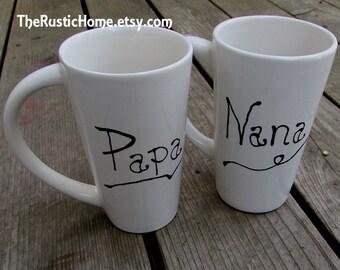 Custom pottery mug choose your name personalized coffee tea mug tall 16 oz ounces latte bistro ceramic pottery gift mr mrs and more