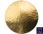 Raw Brass Hammered Dapped Domed Circle Pendant 35mm (4) mtl101A