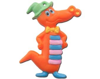 Silly Vintage Orange Alligator Pendant Charm chr057D
