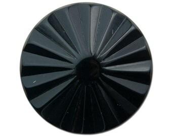 Vintage Black Ribbed Acrylic Cabochons 30mm (2) cab830A