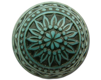 Vintage Etched Mosaic Turquoise Blue and Black Cabochons 18mm (2) cab710K