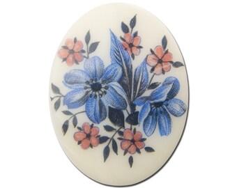 Vintage German Mauve and Blue Glass Flowers Cabochon 40x30mm (1) cab747J