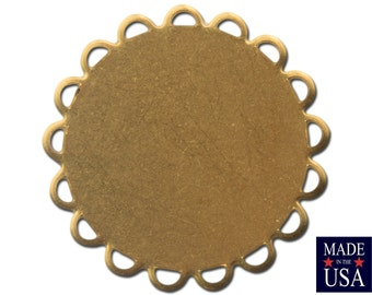 Raw Brass Lace Edge Round Flat Pad Settings 22mm (10) stn030C