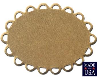 Raw Brass Lace Edge Oval Flat Pad Settings 25x18mm (8) stn029B