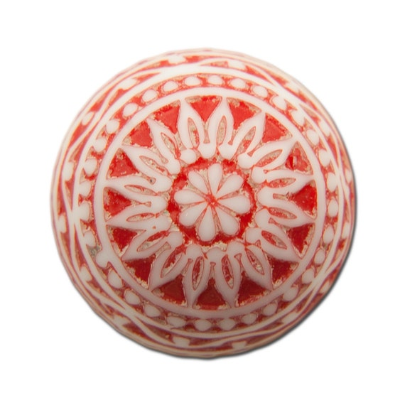 Vintage Etched Mosaic Red and White Cabochons 18mm (2) cab710C