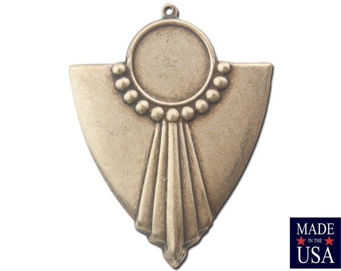 1 Loop Brass Ox Deco Swag Shield Pendant with 13mm Setting (4) pnd022F