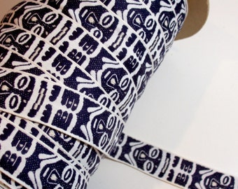 Jacquard Ribbon, Navy Blue and White African Mask Embroidered Ribbon 1 1/8 inches wide x 3 yards