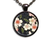 Japanese Floral Oasis - Round Glass Dome Pendant Necklace by IMCreations -  NT112