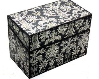 Wood Recipe Box Black and Cream Damask Ready To Ship Fits 4x6 Recipe Cards