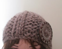 Beanie hat. chunky knit cloche, light brown hat, taupe hat, button trimmed hat