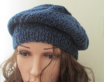 Slouchy thick knit hat, slouchy tam, handknit beret, blue slouchy tam