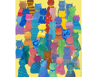 Collage Art Print: A Colourful Crowd -  Cat Picture 8 x 10 or 10x13