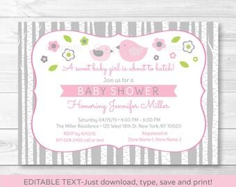 Cute Pink Bird Baby Shower Invitation / Bird Baby Shower Invite / Woodland Bird / Pink & Grey / Baby Girl / INSTANT DOWNLOAD Editable PDF