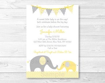 Yellow Elephant Baby Shower Invitation / Chevron Elephant / Yellow & Grey / Gender Neutral / PRINTABLE