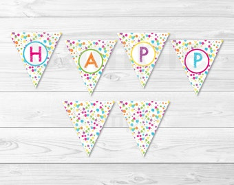 Rainbow Art Party Happy Birthday Banner / Paint Party / Art Party Banner / INSTANT DOWNLOAD